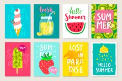 Summer hand drawn calligraphyc card set with fruits, cocktails, ice cream. Use it for flyers, postcards, banners, posters and othe vector illustration
