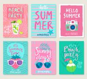 Summer hand drawn calligraphyc card set. Vector illustration Stock Photo