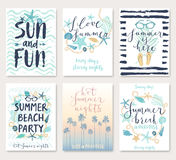 Summer hand drawn calligraphyc card set. Royalty Free Stock Photo