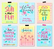 Summer hand drawn calligraphyc card set. Stock Images