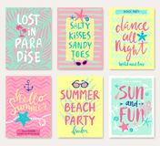 Summer hand drawn calligraphyc . Summer hand drawn calligraphyc card set. Vector illustration. You can use it for flyers, invitations and other design products Stock Illustration