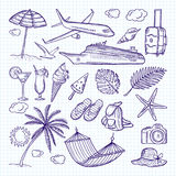 Summer hand drawn elements. Sun, umbrella, backpack and other symbols of funny vacations. Vector doodles set Royalty Free Stock Image