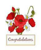 Summer hand drawn floral vintage card with Poppy Royalty Free Stock Photography