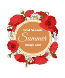 Summer hand drawn floral vintage card with Poppy Stock Photo