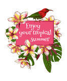 Summer hand drawn floral vintage card with Royalty Free Stock Photo