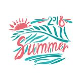 Summer. 2018. Hand drawn inscription and palm leaf and sun Royalty Free Stock Images