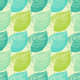 Summer hand drawn leaf. Wallpaper seamless pattern background Stock Photo