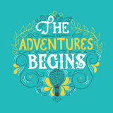 Summer Hand drawn lettering, typography inscription Adventures begins Royalty Free Stock Photos