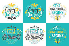 Summer Hand drawn lettering, typography inscription Adventures begins Stock Photos