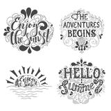Summer Hand drawn lettering, typography inscription Adventures begins Royalty Free Stock Photo