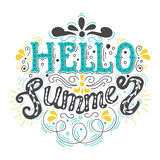 Summer Hand drawn lettering, typography inscription Hello summer. Royalty Free Stock Photos