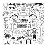Summer hand drawn set of elements for logos design Stock Photography