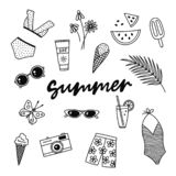Summer hand drawn vector symbols and objects royalty free illustration