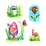 Summer hand illustration ice cream and coffee grass rose lollipops felt-tip bright colorful pink green isolated on white backgroun. Summer hand illustration ice Royalty Free Stock Image