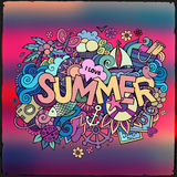 Summer hand lettering and doodles elements Royalty Free Stock Photo
