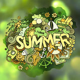 Summer hand lettering and doodles elements Stock Photos