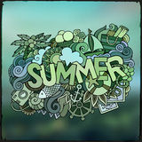 Summer hand lettering and doodles elements Royalty Free Stock Image