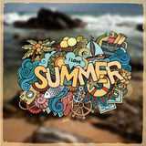 Summer hand lettering and doodles elements Royalty Free Stock Images