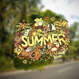 Summer hand lettering and doodles elements Stock Photography