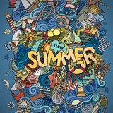 Summer hand lettering and doodles marine elements Stock Photography