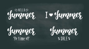 Summer hand lettering set. Summer typographic and calligraphic set. Summer logos and emblems in white ink. Vector illustration royalty free illustration