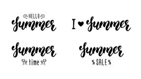 Summer hand lettering set. Summer typographic and calligraphic set. Summer logos and emblems. Vector Stock Photography