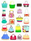 Summer handbags. Set of summer handbags isolated on white background vector illustration