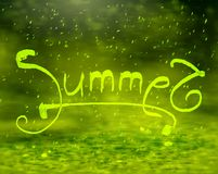 Summer handdraw poster with blurry effect. Royalty Free Stock Photos