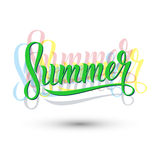 Summer handwritten lettering sign on white background. Stock Images