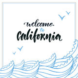 Summer handwritten lettering. Vector hand . Welcome to the California Royalty Free Stock Photos