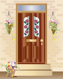 Summer hanging baskets. An illustration of a fancy front door with summer hanging baskets full of flowers Royalty Free Stock Images