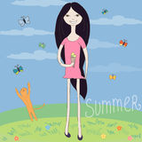 Summer happy girl with cat illustration.  Stock Photos