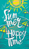 Summer. Happy Time. Seasonal poster with sun, sea and beach. Vector illustration Royalty Free Stock Images