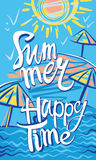 Summer. Happy Time. Seasonal poster with sun, sea and beach. Vector illustration Royalty Free Stock Image