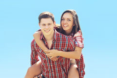 Summer happy young hipster couple having fun Stock Photos