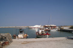 Summer harbour. In the Greek village with the small ships Stock Photo