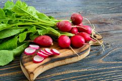 Summer harvested red radish. Growing organic vegetables. Large bunch of raw fresh juicy garden radish on dark boards ready to eat Stock Image