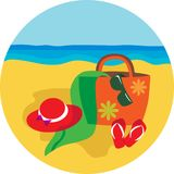 Summer hat and bascket on beach background stock illustration