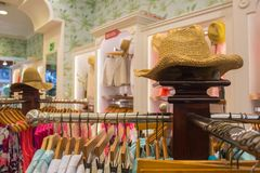Summer  hat in the fashion clothes shop interior Stock Image
