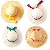 Summer hat (hats). Isolated on white royalty free stock photography