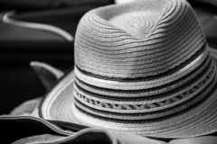 Summer hat packed up for vacation stock images