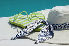 Summer hat on the pool Stock Photo