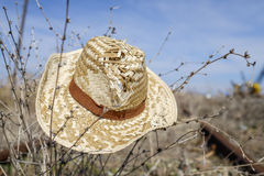 Summer hat and rails  Royalty Free Stock Image