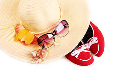 Summer hat with red shoes Stock Photos