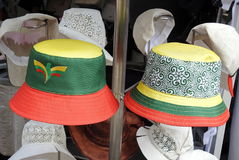 Summer hat for sale. Two summer hat with Lithuanian flag colors, Lithuania Stock Image