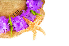 Summer Hat and Starfish Stock Photography