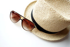 Summer hat with sunglasses Stock Images