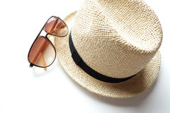 Summer hat with sunglasses Royalty Free Stock Photo