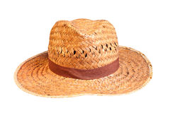 Yellow wicker straw hat isolated. Stock Photography