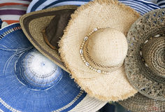 Summer hats. Colorful straw ummer hats on sale stock photo